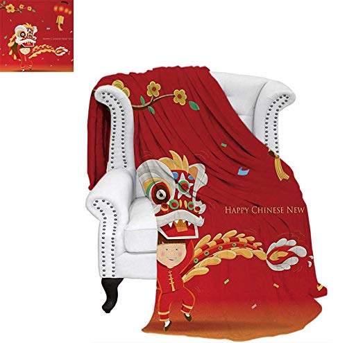 (Joydad Chinese New Year Cotton Blanket Little Boy Performing Lion Dance with The Costume Flowering Branch Lantern Sand Free Beach Blanket 70 x 60)