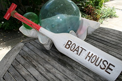 """BOAT HOUSE"" PADDLE 32"" RED - NAUTICAL WALL DECOR"
