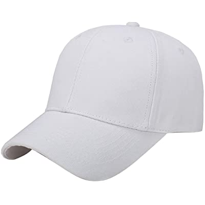 Plain Baseball Cap Adjustable Men Women Unisex | Classic 6-Panel Hat | Outdoor Sports Wear White at Men's Clothing store