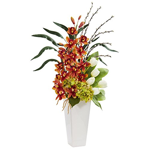- Nearly Natural 1640-BG Cymbidium Orchid, Hydrangea and Tulip Artificial Silk Arrangements, Burgundy