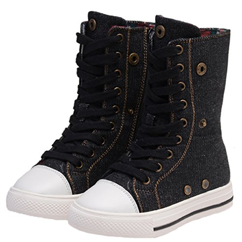 Boots Shoe Pointss Sneaker Punk Shoe Lace Stylish Sneaker up Walking Girls 1 Zip High Boots Black Flat Fashion Skate Tall Tqzn48Trx