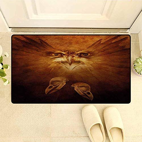 HouseLookHome Animal Indoor Outdoor Floor Mats Hawk Eagle Bird Face and Claws with Feathers Wings in Fire Like Background Art Print Floor Mat for Bathroom W29.5 x L39 Inch Brown