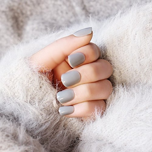 24pcs Winter Simple Solid Grey Square Short False Nail With Design (Cute Halloween Nail Designs For Short Nails)