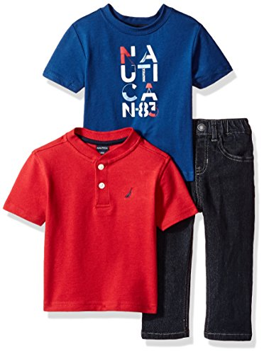 Nautica Baby Boys' Short Sleeve Henley, Tee, and Denim Pant Set, red Rouge, 12 Months