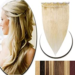 "100% Real Hair Extensions Clip in Remy Human Hair 18"" 50g One-piece 5 Clips Long Straight Hair Extensions for Women Wide Weft Soft Silky #60 Platinum Blonde"