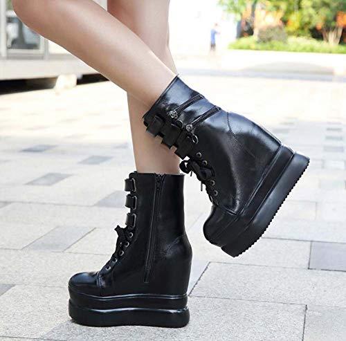 Botas Martin Redondo Mujeres Elevador Roma Black Tamaño 12Cm Cuña Pies Cm UE Correas Botín Cross 5 34 Talón 39 Grueso Zapatos Zapatos Tobillo Plataforma 5 rArdqWa