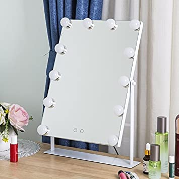 AIMEE-JL - Espejo de tocador para cosméticos de belleza, gran espejo de maquillaje con 12 bombillas LED y regulador de intensidad ...