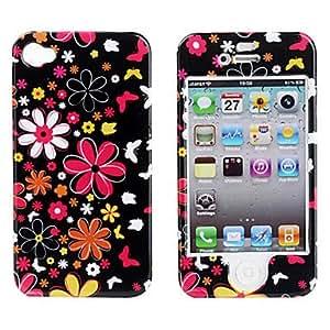 Protectora suave de policarbonato caso, parte delantera y trasera para el iPhone 4 y el iPhone (flores de colores) 4s