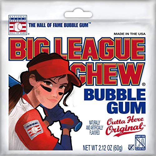 Big League Chew Female Softball Outta Here Original Bubble Gum, 2.12-Ounce Pouches (Pack of 12) -