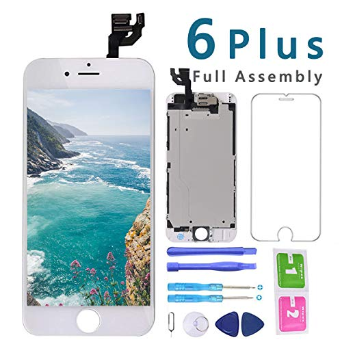 Screen Replacement for iPhone 6 Plus White 5.5 inch LCD Display Touch Digitizer Full Assembly Repair Kit, with Proximity Sensor, Earpiece, Front Camera, Screen Protector, Repair Tools Set