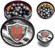 Rubber Balls 100 x Premium Quality .68 Caliber Hard 3.9 gr. Heavy Powerballs Paintballs for Self & Home De