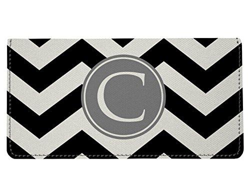 (Personalized Monogram Black Grey Chevron Checkbook Cover)