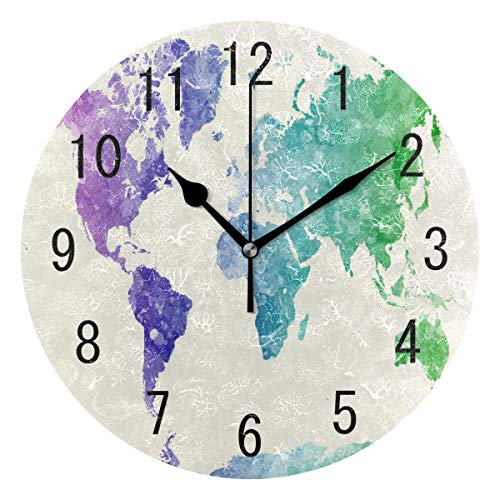 - ALAZA Home Decor Watercolor Oil Painting World Map Round Acrylic Wall Clock Non Ticking Silent Clock Art for Living Room Kitchen Bedroom