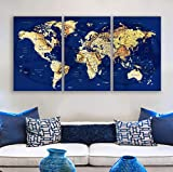 Original by BoxColors LARGE 30'x 60' 3 panels 30x20 Ea Art Canvas Print blue yellow old Map World Push Pin Travel Wall home office decor (framed 1.5' depth) M1950