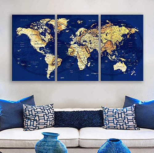 Original by BoxColors LARGE Map yellow wall art