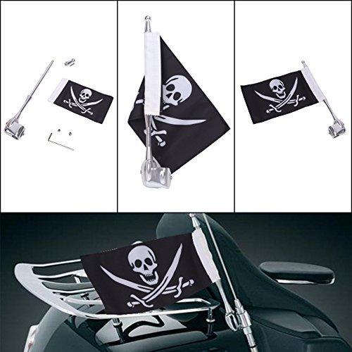 Motorcycle Flag Pole Mount and Skull Flag For Honda Yamaha Harley Davidson BOXWELOVE