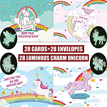 b52596219e45 Valentines Day Cards for Kids Fairy Unicorns with Charm Glow in the Dark  Horse Rainbow Keepsakes Super School Valentine's Pack 28 Cards with  Envelopes ...