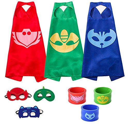 The Mass Catboy Owlette and Gekko Costumes, Superheros Capes and Mask Matching Slap Bracelet for Kids Costume and Dress up -