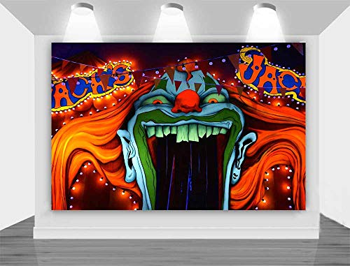 Halloween Eve Horror Circus Carnival Photography Background Giant Halomas Birthday Party Photo Background Scary Entrance Giant Evil Vampire Cake Table Decoration Banner Studio Props 5x3ft