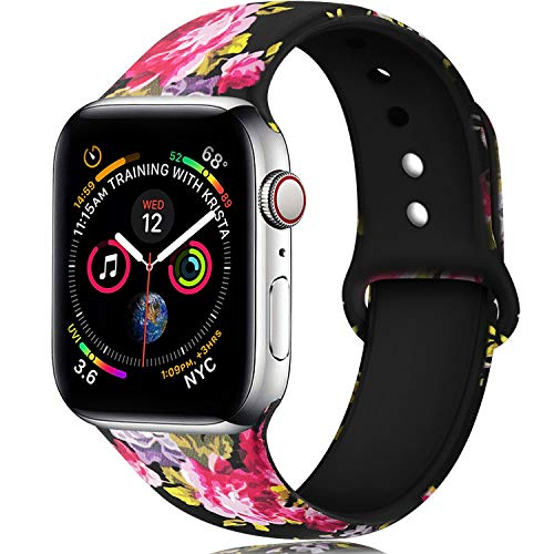 (Laffav Floral Bands Compatible with Apple Watch 40mm 38mm iWatch Series 4 3 2 1 for Women, Pink Flower, S/M)
