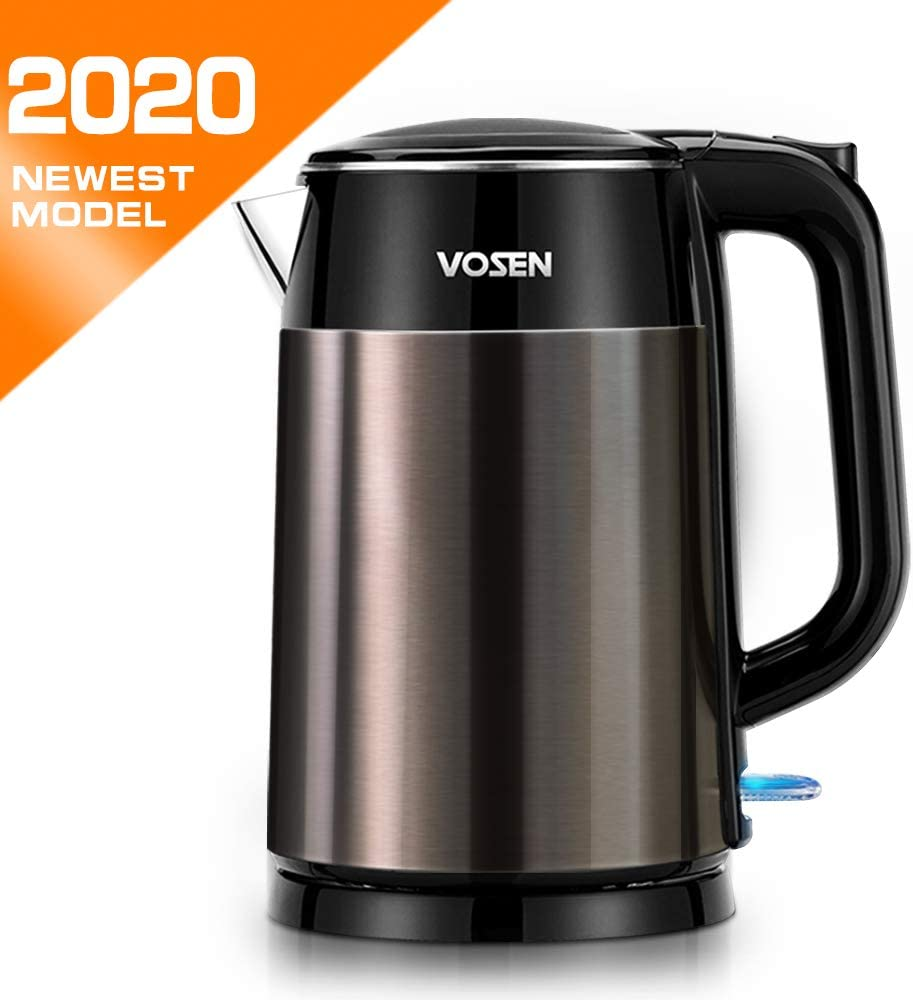 Electric Kettle, VOSEN 1.7L Double Wall 100 Stainless Steel Electric Tea Kettle, BPA Free Cool Touch Kettle with Auto Shut-Off Boil Dry Protection, 1500W Fast Boiling