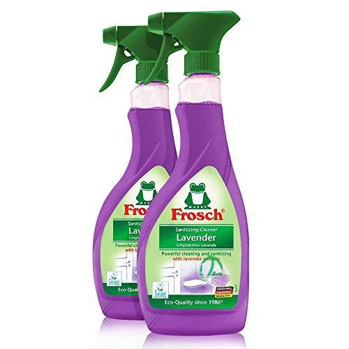 Frosch Natural Lavender Multi-Surface Sanitizing Cleaner Spray Bottle, 500ml (Pack of 2) by Frosch