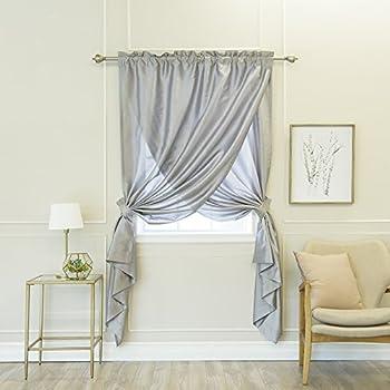 Best Home Fashion Faux Silk Overlap Curtain