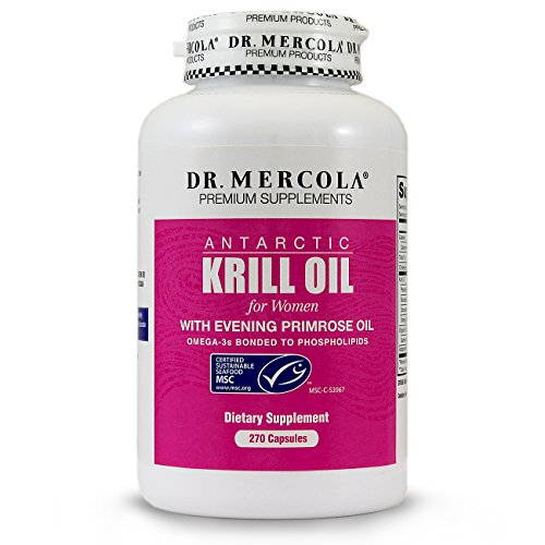 Dr. Mercola Krill Oil for Women - 270 Capsules - With Evening Primrose Oil - Omega-3 Bonded To Phospholipids - MSC-Certified - Improved Absorption Over Fish Oil