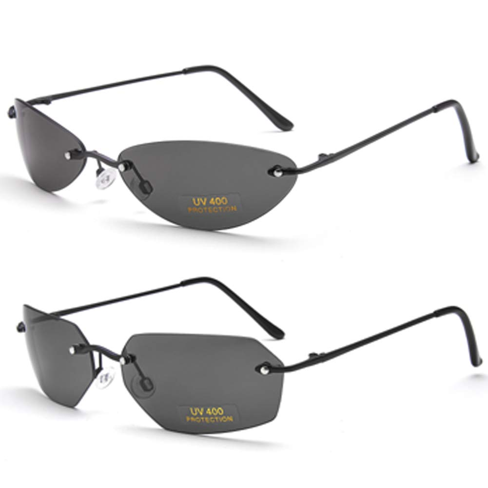 2 Pack Matrix Sunglasses men Ultralight Rimless