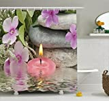 Ambesonne Spa Decor Shower Curtain by, Heaven on Earth Peaceful Theme Violets Candle on a Water and Stones, Fabric Bathroom Decor Set with Hooks, 84 Inches Extra Long, Purple Grey and Green