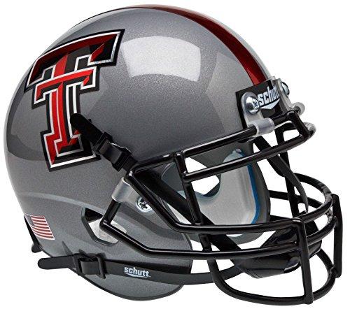TEXAS TECH RED RAIDERS NCAA Schutt XP Authentic MINI Football Helmet (CHROME LOGO/GRAY)