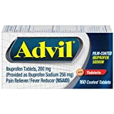 Advil Film-Coated Temporary Pain Reliever/Fever Reducer Tablet, 200mg Ibuprofen, 160 Count