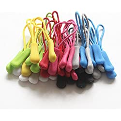 40 Pieces Zipper Pulls Durable Cord Zipper Pull Replacement for Backpacks,Jackets,Traveling Cases,Luggage,Purses,Handbags,Kids (8 colors mixed)