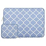 MOSISO Laptop Sleeve Bag Compatible 14 Inch Notebook Computer Ultrabook, Quatrefoil Style Canvas Fabric Protective Carrying Cover, Serenity Blue