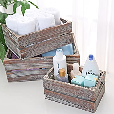 Set of 3 Country Rustic Finish Brown Wood Nesting Boxes/Tabletop Jewelry Storage Containers - MyGift - Cut clutter with country rustic flair by using this set of 3 storage boxes. Comes with 3 rectangular nesting boxes with a rustic wooden finish. Provides ample storage opportunity for office supplies, jewelry, and more. - organizers, bathroom-accessories, bathroom - 51nF SfDlKL. SS400  -
