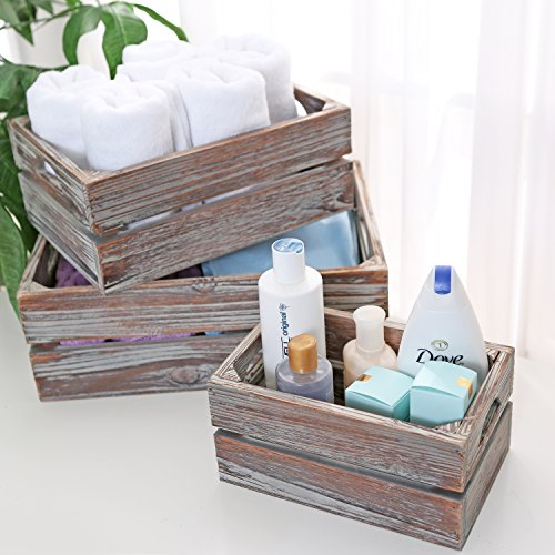 Set of 3 Country Rustic Finish Brown Wood Nesting Boxes / Tabletop Jewelry Storage Containers - MyGift