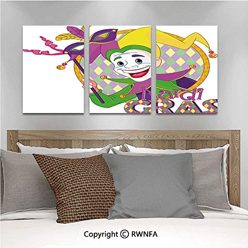 3Pc Creative Wall Stickers Cartoon Design of Mardi Gras Jester Smiling and Holding a Mask Harlequin Figure Decorative Bedroom Kids Room Nursery Dinning Wall Decals Removable Art -