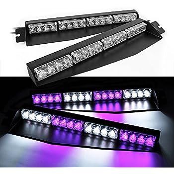 32w Led Lightbar Visor Light Windshield Emergency Strobe Split Mount Deck Dash Lamp Purple White