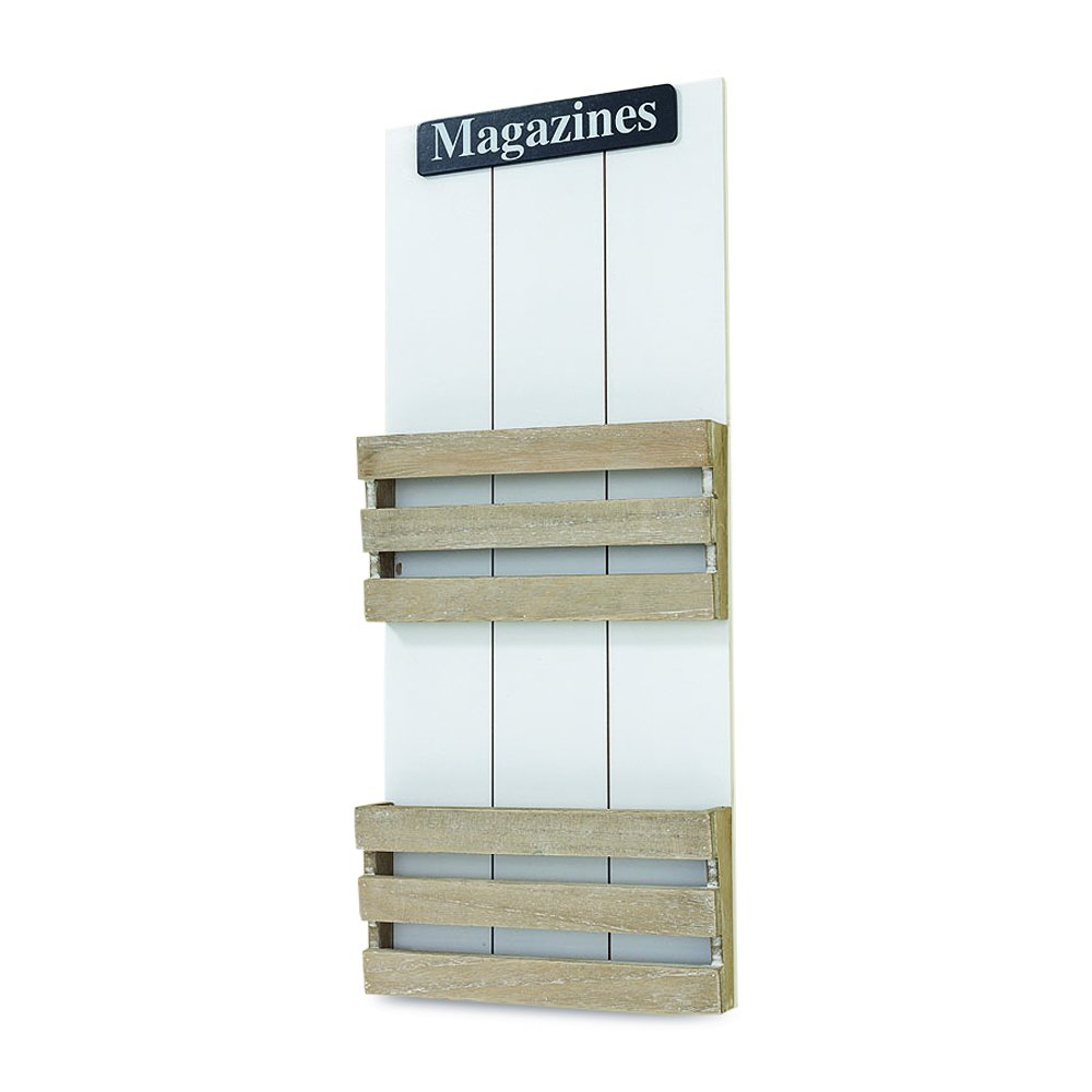 Whole House Worlds The Farmer's Market Magazines Wall Mounted Rack, 2 Pockets, Bins, Display, Rustic White and Chippy Gray, Distressed Shiplap Siding, Vintage Finish, Hangers, 2 Ft Tall, By