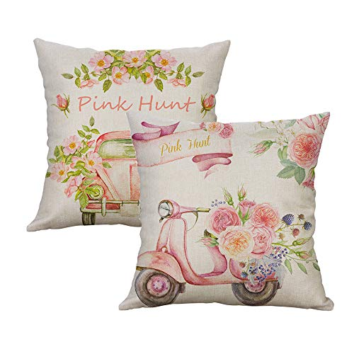 LEVOSHUA 2 Pack Pink Flowers Pillow Cover Throw Pillow Case Cushion Cover Pillowcase Home Decorative for Sofa 18