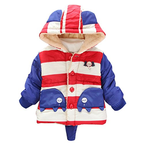 KONFA Baby Girls Boys Lovely Cartoon Elephant Striped Hooded Coat,Suitable for 0-4 Years old,Winter Warm Thick Cloak Tops