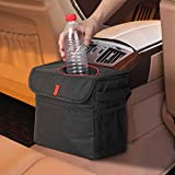 NEX Car Trash Can Waterproof Nylon Hanging Car Trash Bag with Lid and Storage Pockets Black