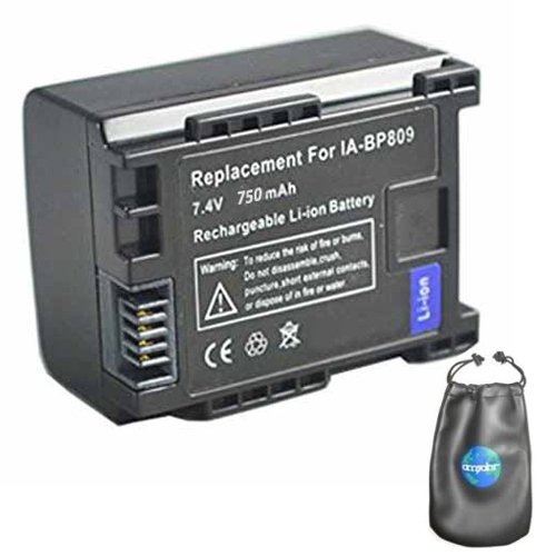 Digital Replacement Camera and Camcorder Battery for Canon BP-809, BP-807, BP-808 - Includes Lens Pouch Amsahr B-BP809