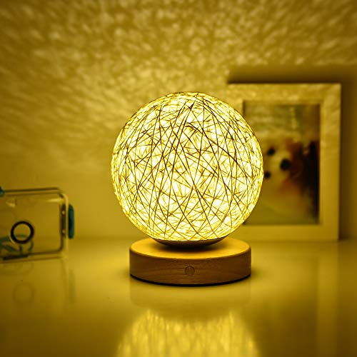 Rattan Ball Table Lamp for Bedroom, Touch Control Dimming LED Night Lamp for Nurversy - Nightstand Decorative Bedside Lamp
