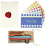 36 Folded Thank You Cards, 36 Colored Envelopes BONUS Wax Stamp, 2 Wax Sticks and 1 Wax Spoon, 100% Refund Guarantee