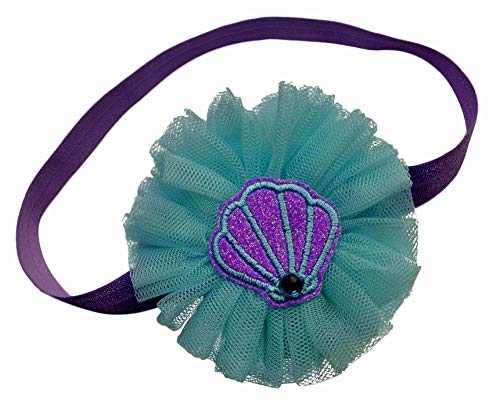 Little Mermaid Inspired Baby and Toddler Girls Elastic Costume Headband (12 Months-5 Years)