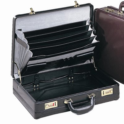 Preferred Nation Exp Leather Attache Briefcase, Black