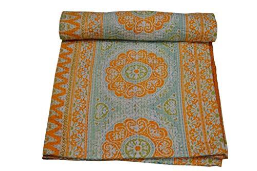 V Vedant Deisgns Suzani Print Queen Cotton Kantha Quilt Bedspread Indian Handmade Throw, 90x108 Inch, Orange (Suzani Quilt)