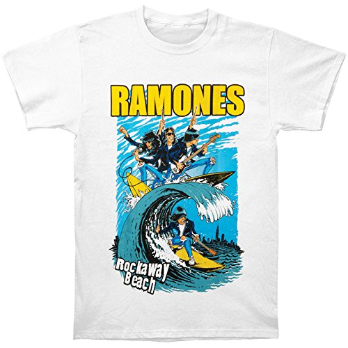 Ramones Men's Rockaway Beach Short Sleeve T-shirt, White, Xx-large