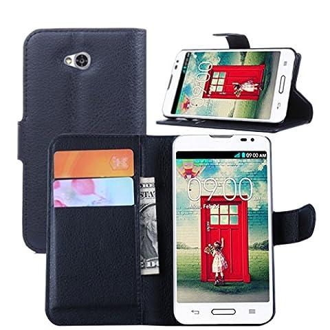 Premium Leather Wallet Case with Stand Flip Cover for LG Optimus L70 (Wallet - Black) (Lg L70 Optimus Black Cases)